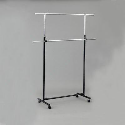 Вешало для одежды напольное двухъярусное регулируемое металлическое ST002