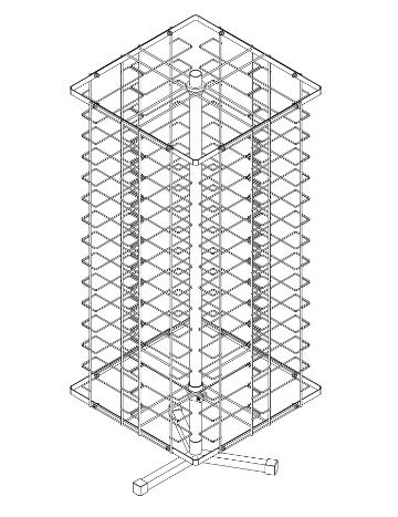 Стойка вращающаяся настольная под очки 112 ячейки, разборн.
